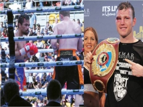 Philippine boxing champion Manny Pacquiao in a match with Australian contender Jeff Horn. Jeff Horn wins.