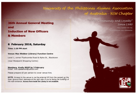 Members, kindly RSVP by 3 February at info.upaaansw@yahoo.com