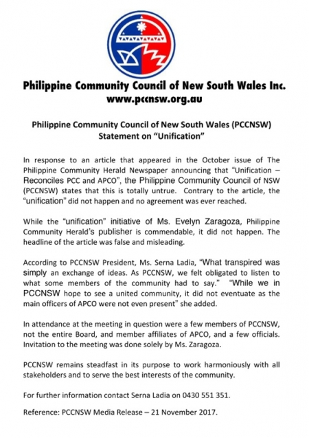 PCC-NSW Media Release on Unification