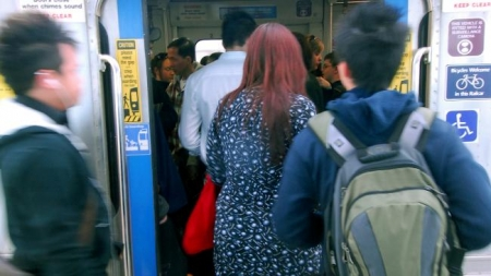 Messenger News Review 26/07/07 E14832 Crowded train story. Commuters on the Gawler line. Picture: LUKE HEMER