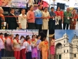 (clockwise) Philippine Fiesta Ribbon Cutting  Ceremony (2015). Melbourne Showgrounds.Royal Exhibition Bldg the current  Philippine Fiesta venue.  Philipine Fiesta Management Committee singing  Christmas Carol (2015).