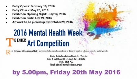 The 2016 Mental Health Week Art Competition is open!!!